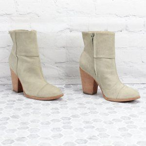LL BEAN Heeled Ankle Boots Leather Side Zip Bootie